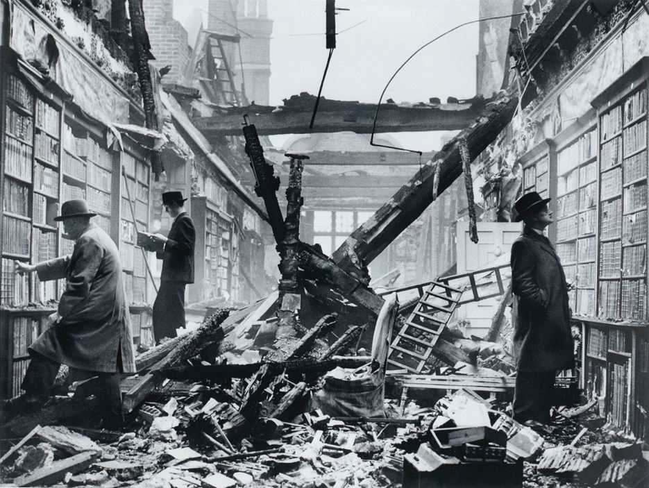 View The Library at Holland House, Kensington, London, after an air raid