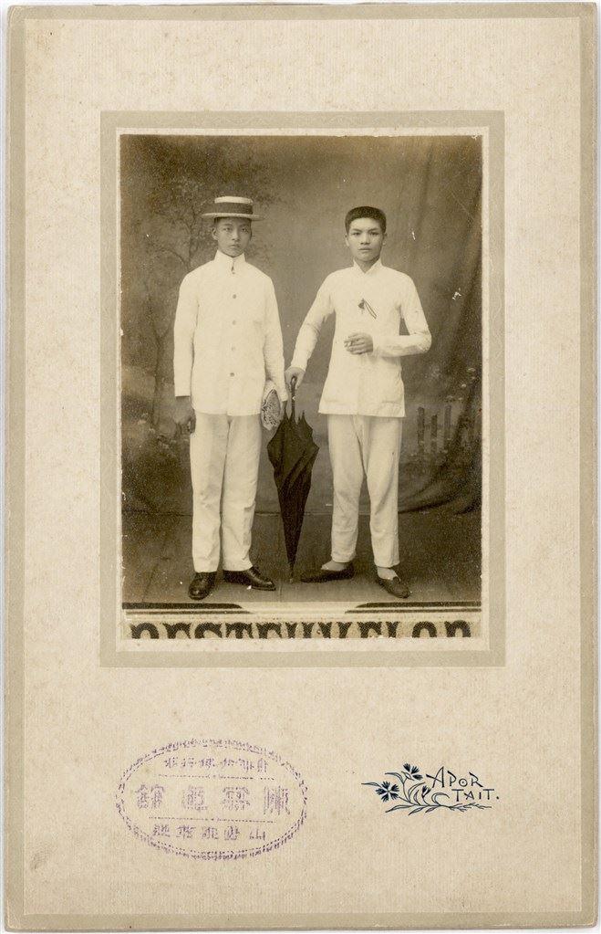 1915 陳寫真館 (雙人男子合照) 大正四年